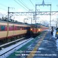 13 志賀駅  JR113系入線、特急雷鳥通過