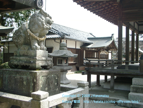 伊豆神社の狛犬と社務所