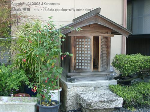 涼しげな鉢植えとプランター、そして木製の地蔵堂