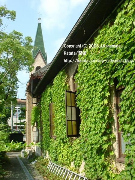 蔦の緑が映える古い教会
