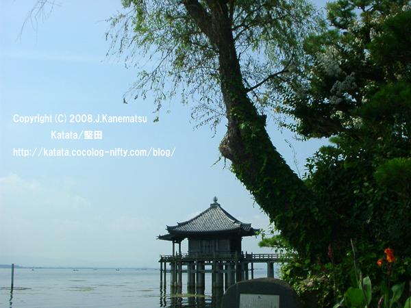 8月の午前中の光と琵琶湖の青、夏の花、浮御堂