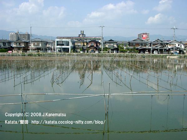 住宅街と堅田内湖