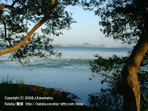 琵琶湖の水際と対岸の三上山(近江富士)