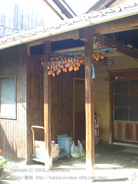 玄関先の干し柿