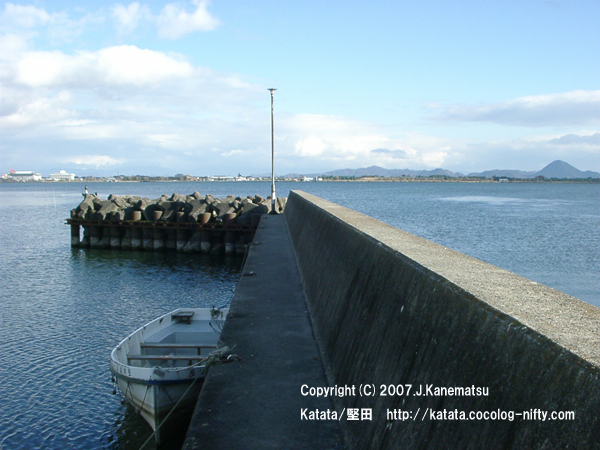琵琶湖、三上山(近江富士)、堅田海洋少年団の船