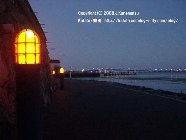 琵琶湖岸の散歩道の夜景