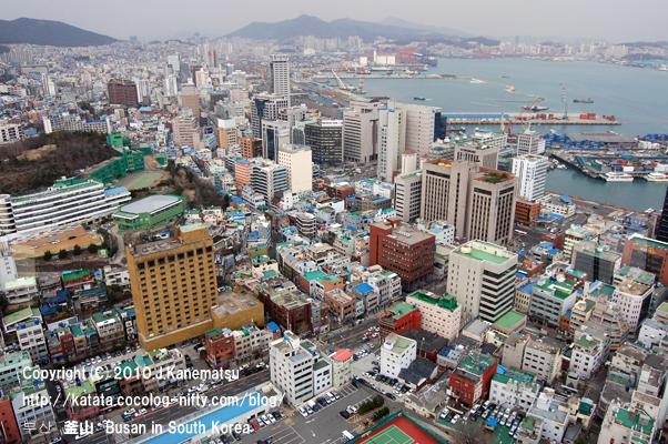 釜山タワーより、釜山港と市内の眺め