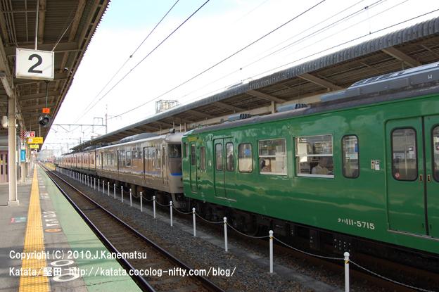 JR湖西線を走る 新顔。 緑の電車 (JR113系)