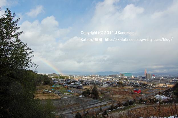 虹の出た日、展望台から見た湖西の眺め