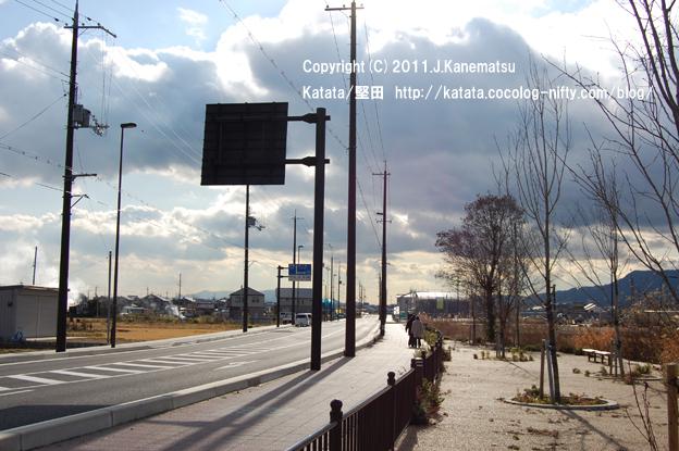 風の強い日、堅田内湖に沿って走る道にて。