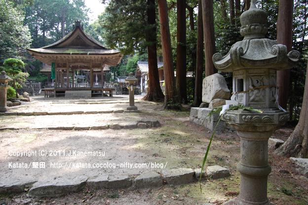 融神社拝殿とショウブとヨモギと石灯籠