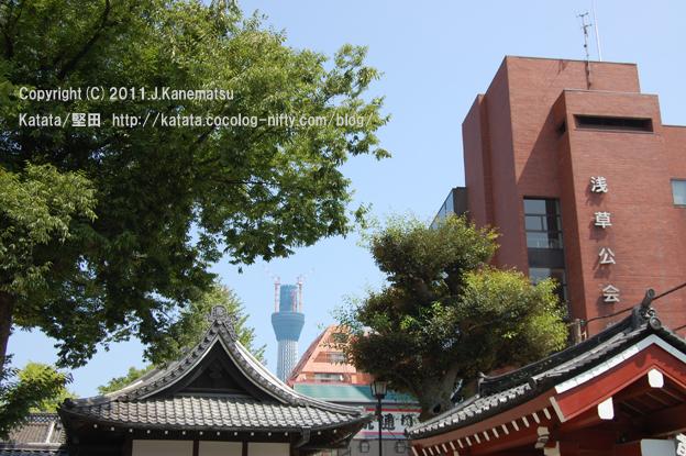 浅草公会堂の向こうに、東京スカイツリー