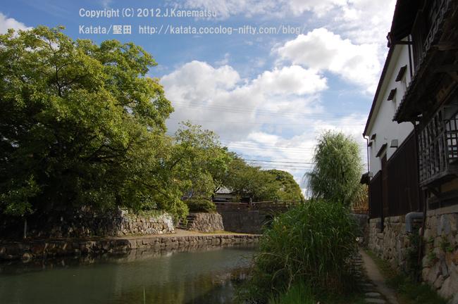 夏の八幡掘7・白壁の家と緑に囲まれた八幡掘