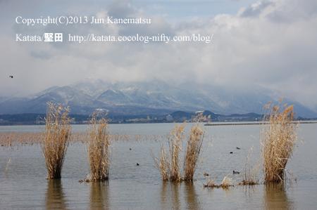 雪の比良山と、堅田の町(ヨシと水鳥とともに)