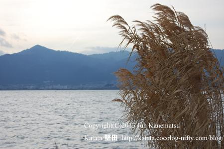 比叡山とヨシと琵琶湖