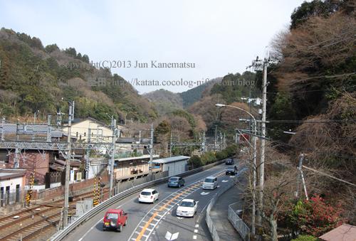 国道一号線と京阪電車大谷駅