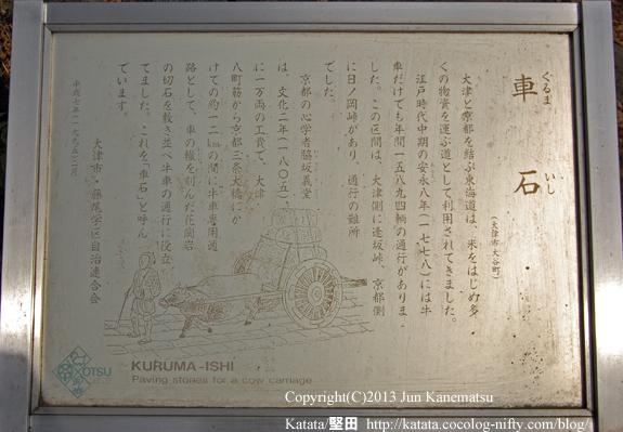 蝉丸神社前の車石(案内板)