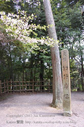 幻住庵跡の碑と桜の花