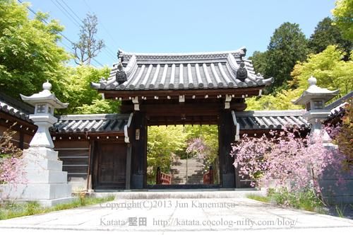 西応寺山門とハギの花