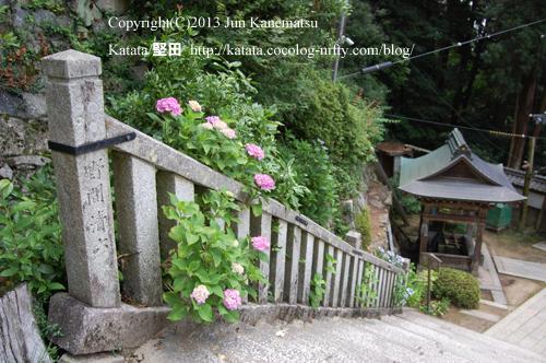 長命寺の石段と紫陽花
