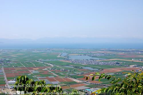 繖山(観音寺山)の上から撮影した安土の町と伊庭内湖