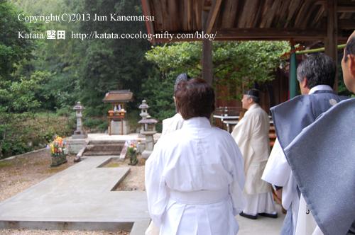 拝殿の屋根の下で例祭を行う近江神宮の宮司さま-5(鞍掛神社例祭にて)
