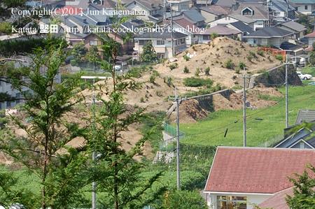 曼陀羅山の尾根筋から見た、真野北小学校付近の古墳(ズーム)