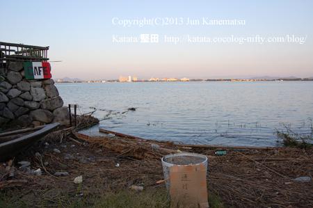 琵琶湖岸の夕暮れ(2013年9月20日、本堅田)-2