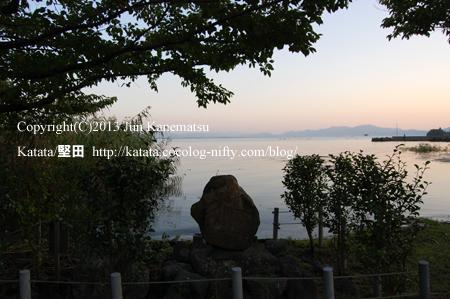 琵琶湖岸の夕暮れ(2013年9月20日、本堅田)-3