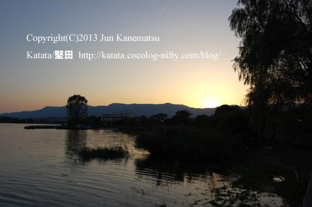 琵琶湖岸の夕暮れ(2013年9月20日、本堅田)-4
