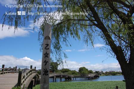 乙女が池と柳と太鼓橋
