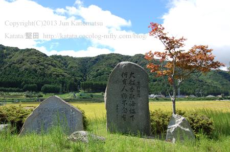 万葉の句碑と三尾山(乙女が池付近)