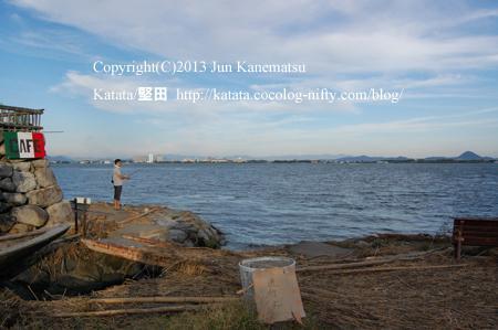 琵琶湖岸の夕暮れ(2013年9月25日、本堅田)-2