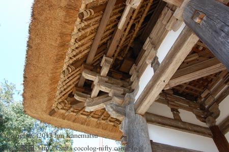 矢川神社楼門を見上げたところ
