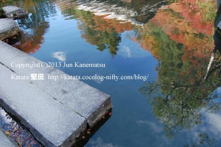 庭園の池に写る秋