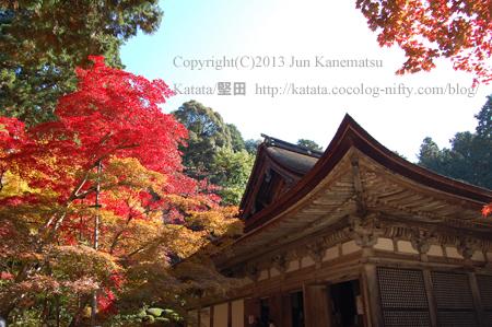 金剛輪寺本堂と紅葉